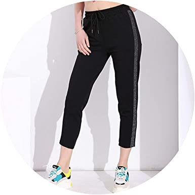 Black Casual Harem Striped Pantalon Femme Pantalones Cintura ...