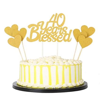 PALASASA 6pc Gold Love Star And Single Sided Glitter 40 Years Blessed Cake Topper For