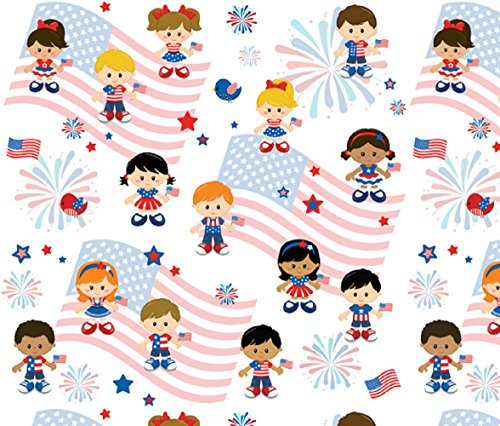 (Patriotic 4th of July European Oeko-tex Certified Knit Design Fabric By the Yard, 92% Cotton, 8% Lycra, Extra wide 68 Inches Wide, 4 Way Stretch, Medium Weight (2)