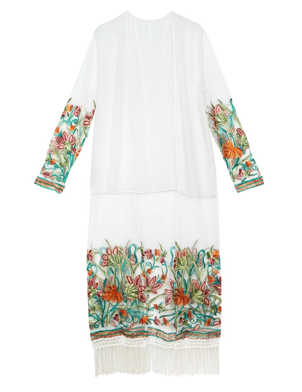 Hamour Women's Floral Chiffon Kimono Cardigan Beach Cover up,One Size Embroider,White