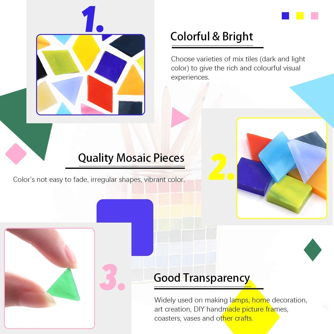 Hilitchi 1lb Assorted Stained Glass Mosaic Tile Mixed Shapes and Colors Glass Pieces for DIY Crafts Mix Shape Flowerpots Handmade Jewelry and More Picture Frames Plates