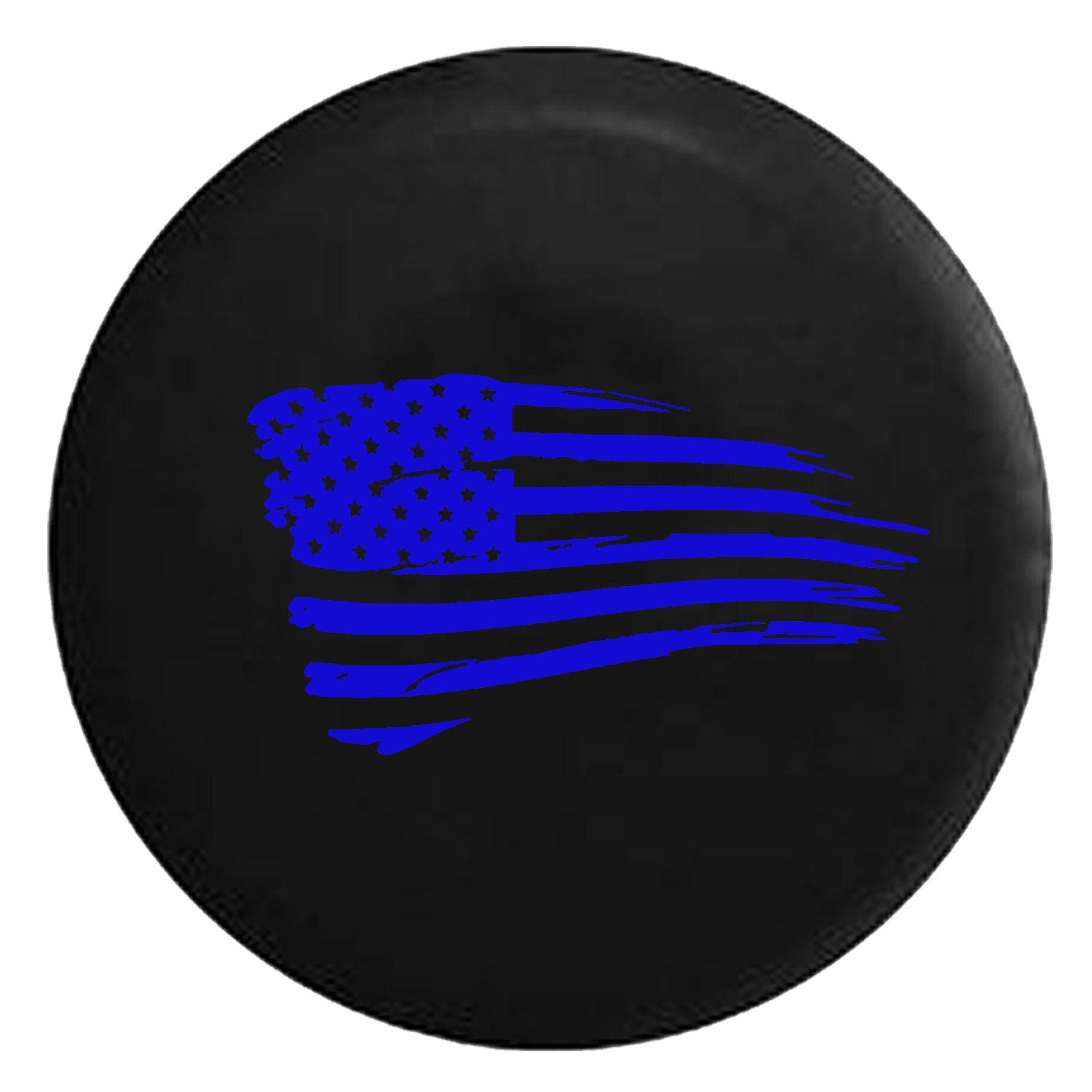 Waving American Tattered Flag Military Spare Jeep Wrangler Camper SUV Tire Cover Gray Ink 33 in Silver Back Covers