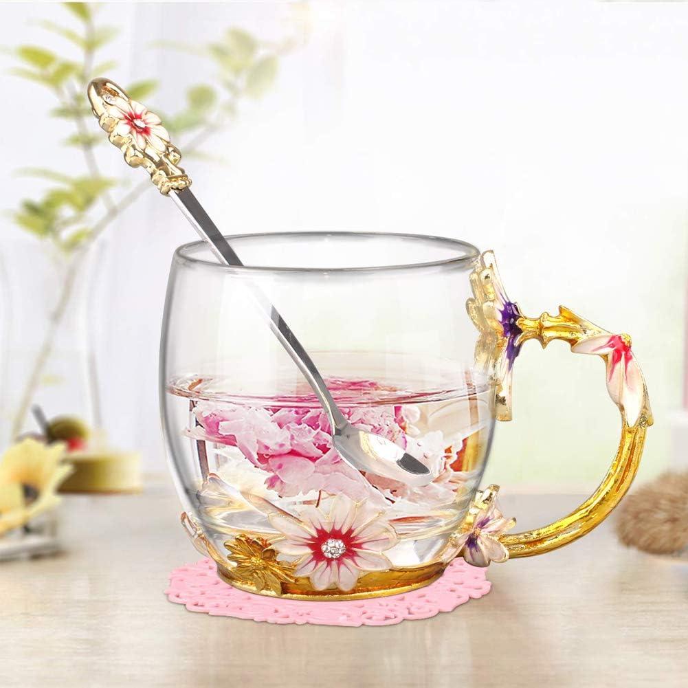5 tazas de té con diseño de flores, cuchara, posavasos, ropa limpia con una caja de regalo, regalo ideal para cumpleaños, día de la madre, día de San Valentín