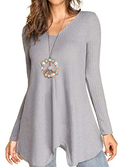 a991154464 LEIYEE Womens Gray V Neck Oversized Asymmetrical Chunky Cable Knit Sweaters  Pullover Tunic Tops