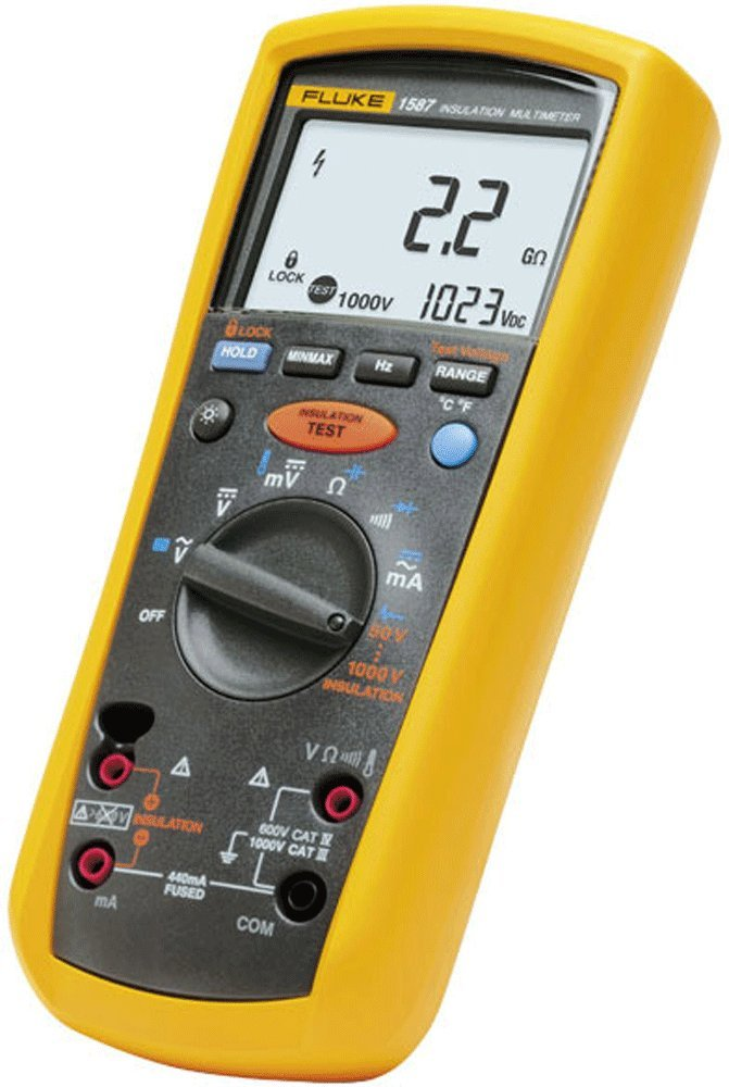 Fluke 1587 Insulation Multimeter, LCD Display, 2 Gigaohms Insulation Resistance, Up to 1000V Insulation Test Voltage with a NIST-Traceable Calibration Certificate with Data