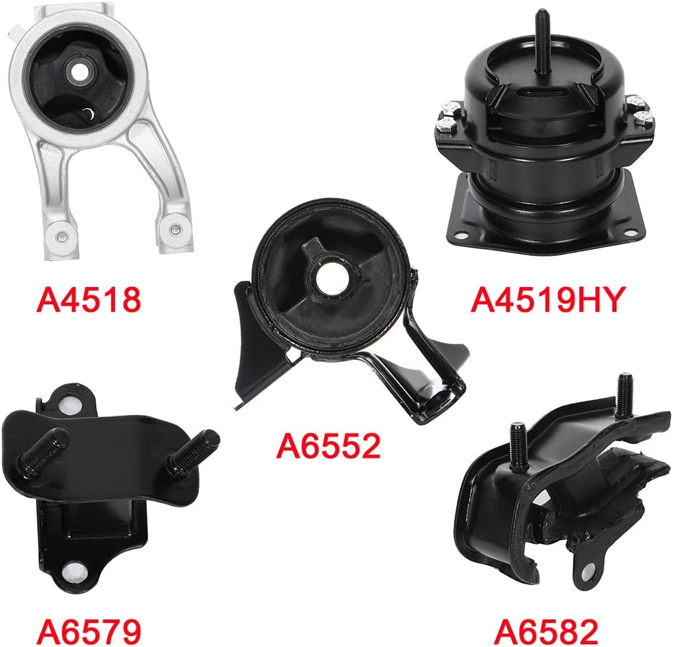 ENA Engine Motor and Trans Mount Set of 5 Compatible with 1999-2004 Honda Odyssey 3.5L Compatible with A4519HY A4518 A6552 A6582 A6579