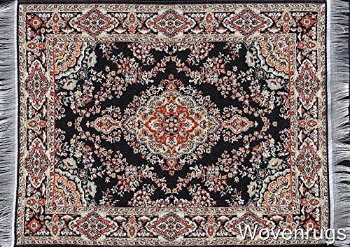 Computer Carpet Mouse Pad | Oriental Style Rug Mouse Mat (Black) - Rug Mouse Pads