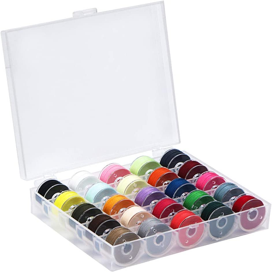 for Hand and Machine Sewing 007mrright 25 PCS Bobbins and Sewing Thread with Case Pre-Wound Bobbins Set