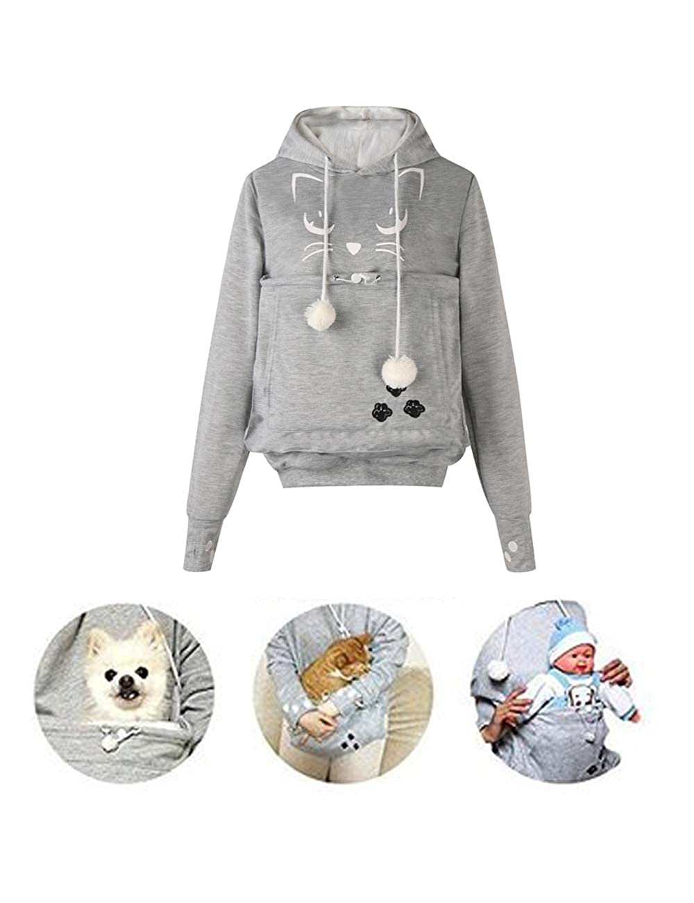 BESBOMIG Unisex Pet Holder Hoodie Sweatshirt Big Pouch Cat Eared Dog Carriers Long Sleeve Loose Pullover Tops Blouse Winter Autumn