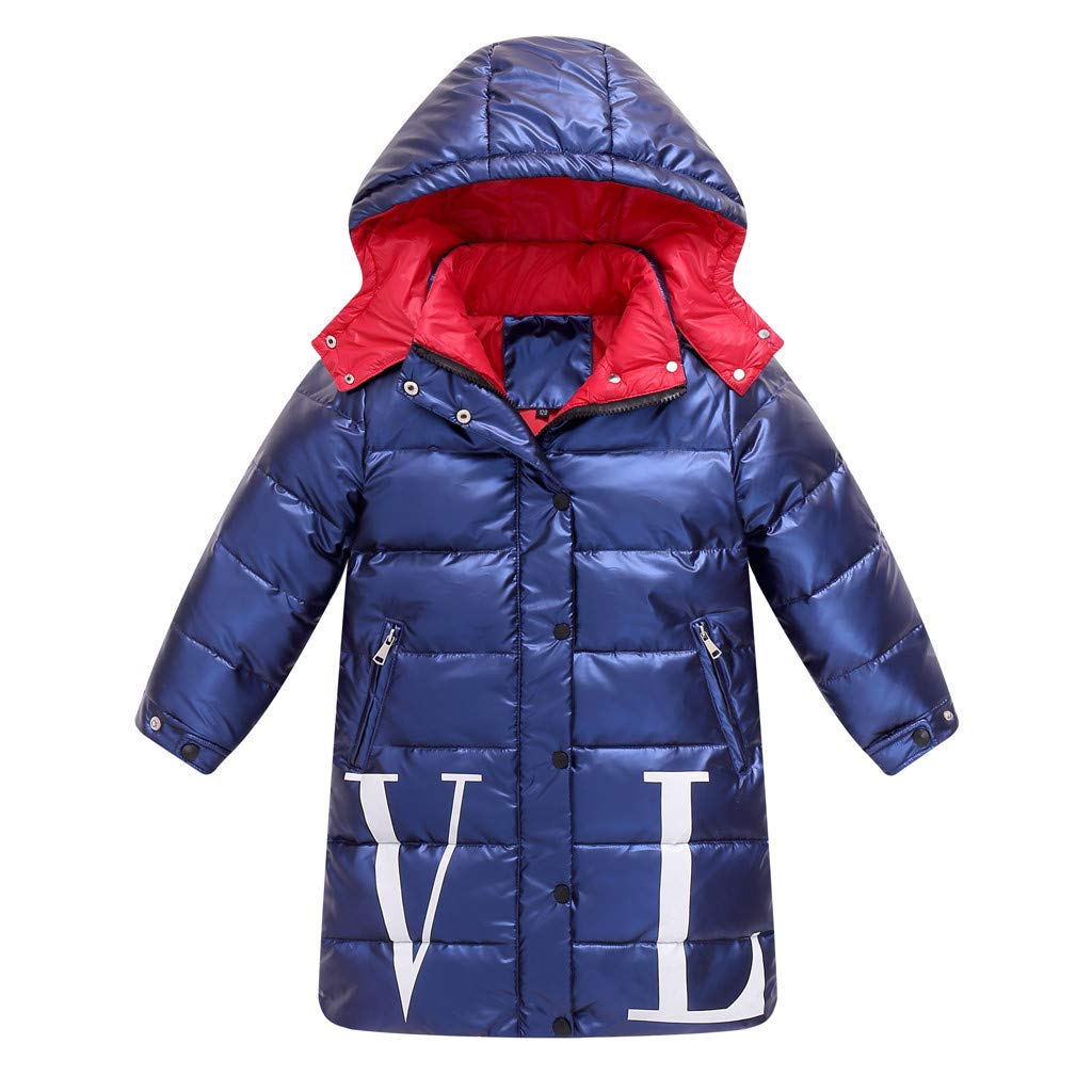 BFYOU Kids Girls Boys Winter Hooded Letter Waterproof Coat Jacket Overcoat Outwear Blue by BFYOU_ Girl Clothing