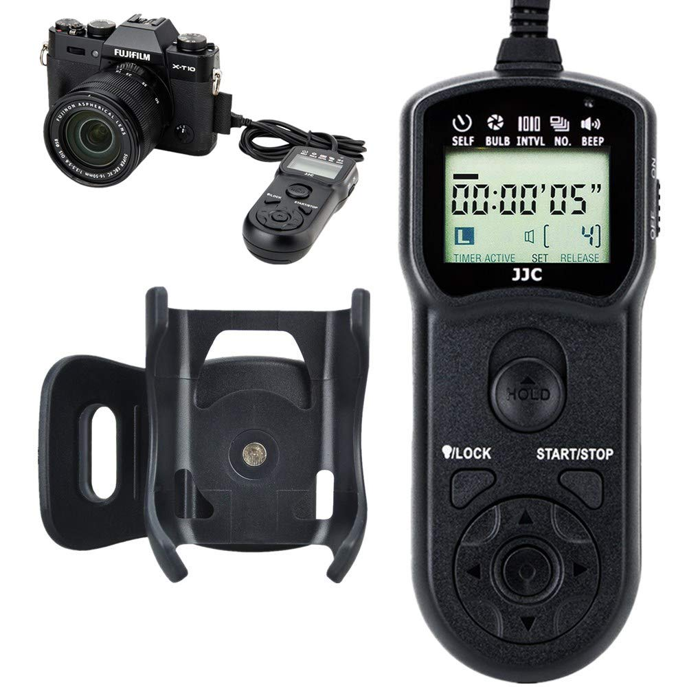 JJC Timer Remote Control Shutter Release for Fuji Fujifilm GFX 50S X-H1 X-Pro2 X-T2 X-T1 X-T20 X-T10 X-T100 XF10 X-E3 X-E2S X-E2 X-A10 X-A5 X-A3 X-A2 X-A1 X-M1 X100F X100T FinePix S1 as Fujifilm RR-90