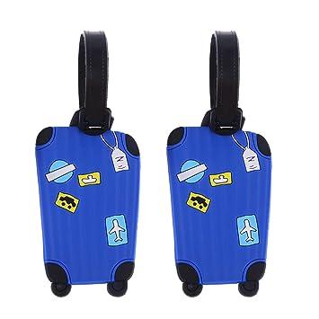 LIOOBO 2pcs Etiquetas de Equipaje de Viaje Etiquetas de identificación de Maleta Etiqueta para identificador de Viaje Maleta Etiqueta (Azul): Amazon.es: ...