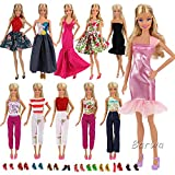Toys : Barwa Lot 15 items = 5 Sets Fashion Casual Wear Clothes/outfit with 10 Pair Shoes for Barbie Doll Xmas Gift