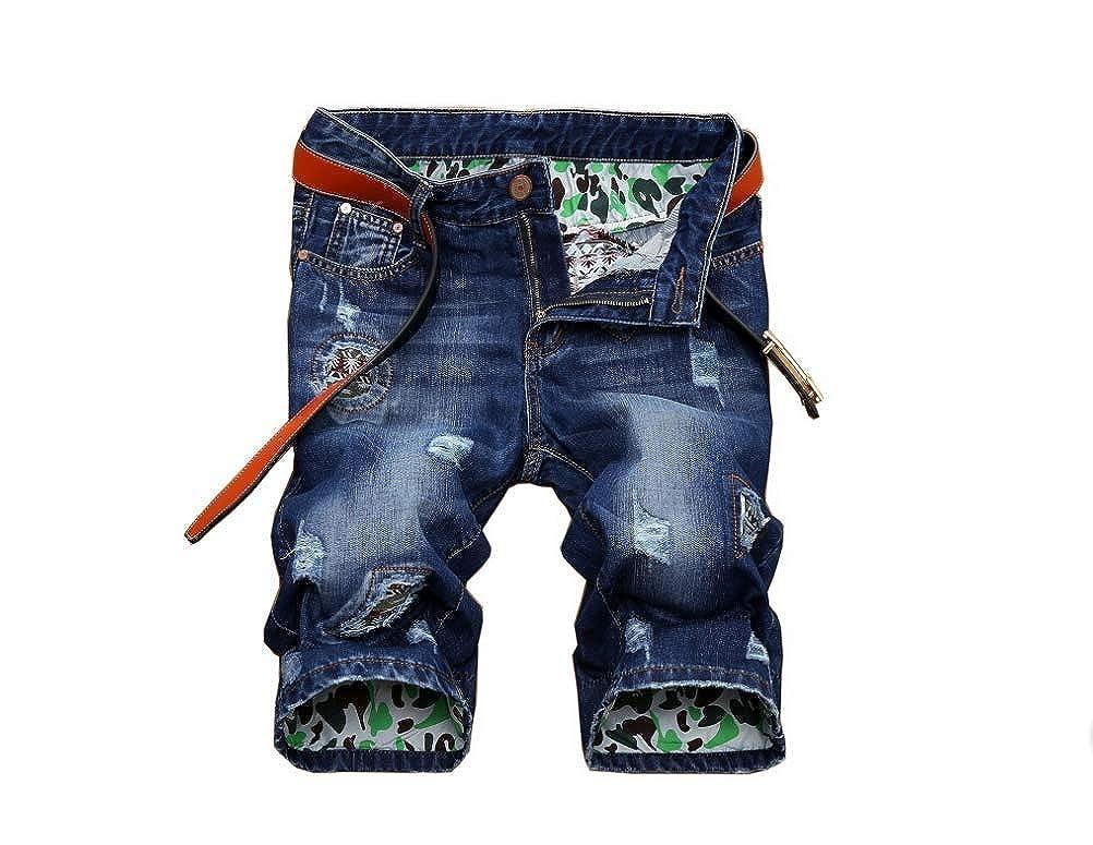 OLUOLIN Men's Casual Denim Shorts Ripped Slim Hip hop Jeans