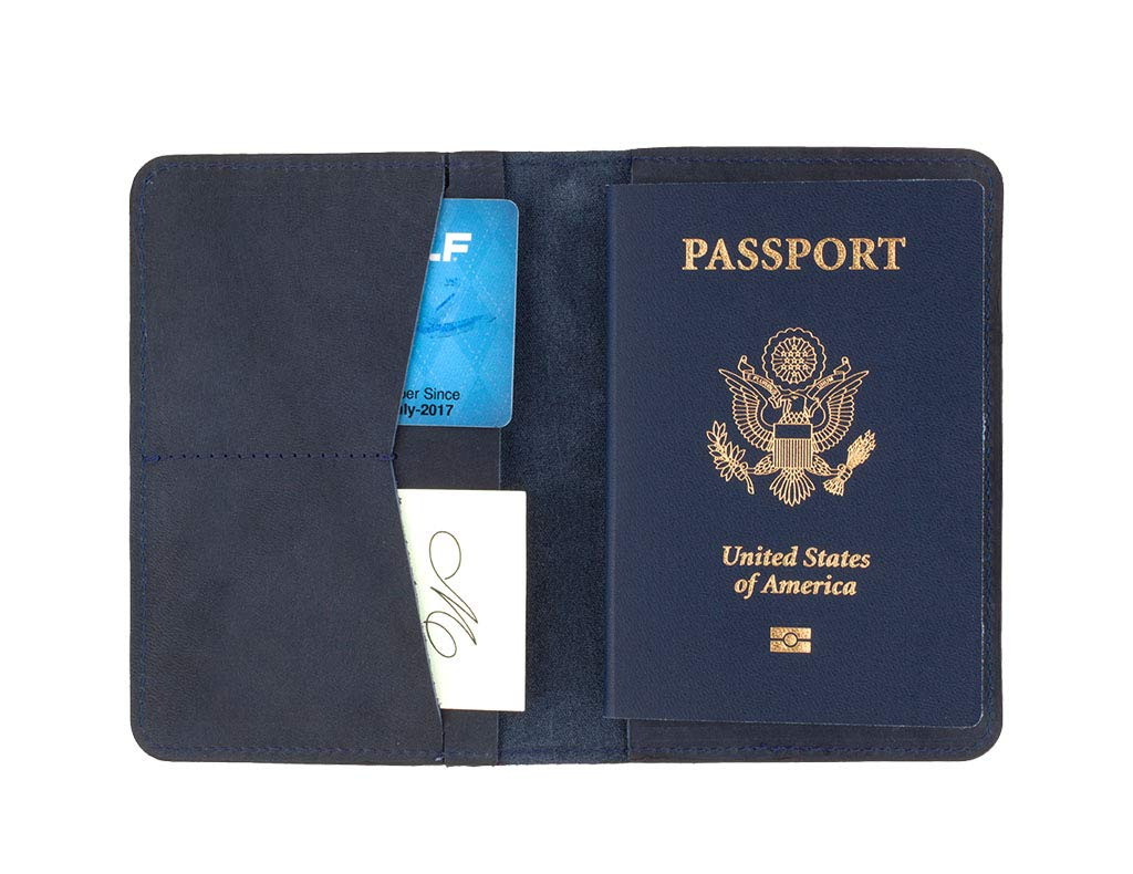SLATE COLLECTION Sand Point Passport Holder, Full-grain Leather (Indigo) by SLATE COLLECTION