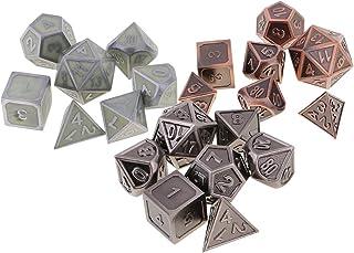 MagiDeal 7pcs D/és Jeux de R/ôle Num/ériques Poly/édriques D4-D20 en Alliage pour Donjons// Dragons Noir MTG// RPG// Jeu de R/ôle