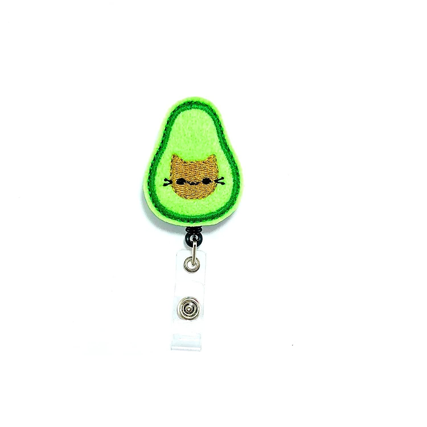 Avocado Cat Badge Reel Holder