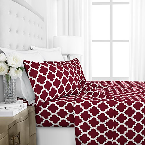 Egyptian Luxury 1800 Hotel Collection Quatrefoil Pattern Bed Sheet Set - Deep Pockets, Wrinkle and Fade Resistant, Hypoallergenic Printed Sheet and Pillow Case Set - Twin - Burgundy (Bed Sheets Design)