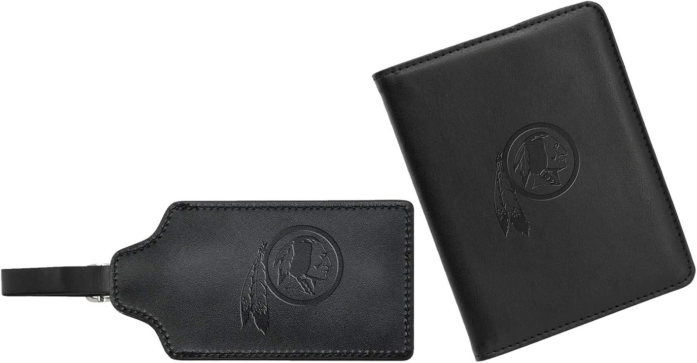 5 x 6 Denco NFL Washington Redskins Leather Passport Cover /& ID Luggage Tag Set Black