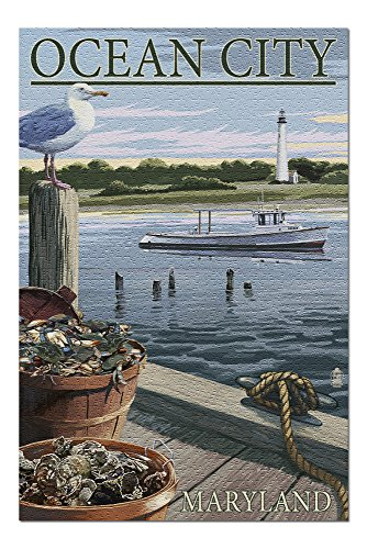 Ocean City, Maryland - Blue Crab and Oysters on Dock (20x30 Premium 1000 Piece Jigsaw Puzzle, Made in USA!)