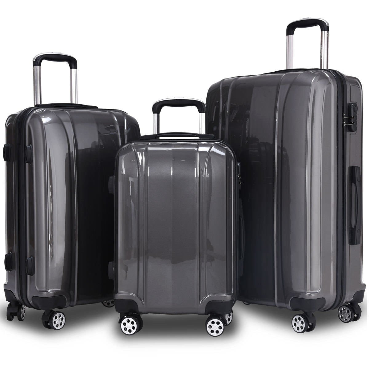 SPECIAL GIFT 3 pcs 20 24 28 ABS+PC Luggage Travel Set Gray Only by eight24hours
