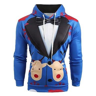 f9758a79557e1 AIMEE7 Homme Vêtements Noël 3D Imprimé Sweat-Shirt Manche Longue Casual Sweat  Capuche Grande Taille