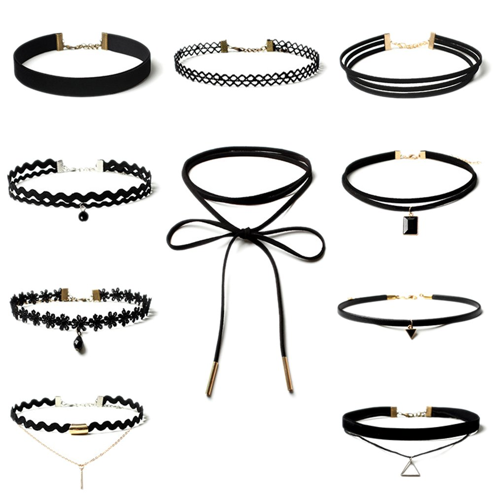 6 PCS Black Choker Necklace Set Women Choker Set Stretch Velvet Classic Gothic Tattoo Lace Chokers - Samtlan