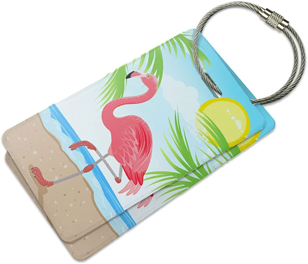 Cute Flamingos Luggage Tags With Full Back Privacy Cover W//Steel Loops