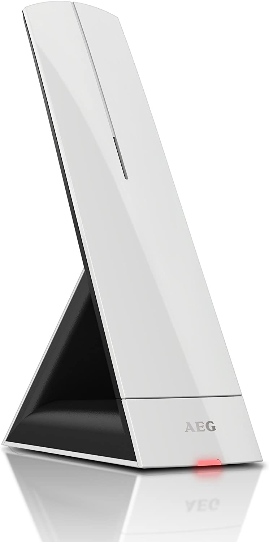 AEG Prism 15 - Teléfono inalámbrico Design DECT con contestador, Manos Libres y función de bloqueos de Llamadas, Color Blanco