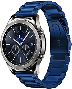 Shangpule Compatible Gear S3 bands, Galaxy Watch 3 45mm Band Galaxy Watch 46mm Bands, 22mm Stainless Steel Metal Replacement Strap Bracelet Compatible Samsung Gear S3 Classic and S3 Frontier Smartwatch (Blue)