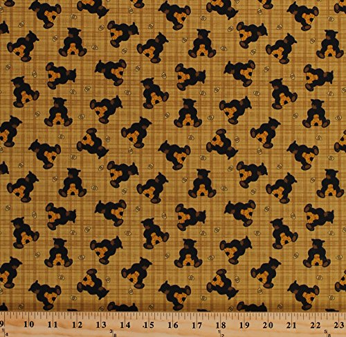 Cotton Bear Paws Black Bear Cubs Teddy Bears Bees Beehives Honey Gold Cotton Fabric Print by the Yard (00681-33) (Fabric Teddy Bear)