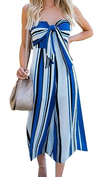 bdf7152391b Domple Women Summer Strapless Club Wide Leg Striped Bowknot Romper  Jumpsuits Blue XS