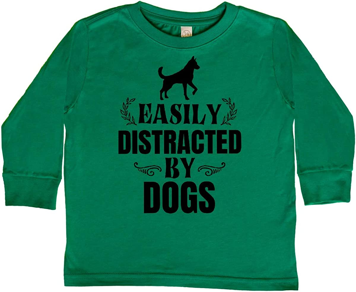 inktastic Easily Distracted by Dogs Toddler Long Sleeve T-Shirt