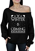 Winter Is Coming Off the Shoulder Oversized Sweatshirt Ugly Christmas Sweater