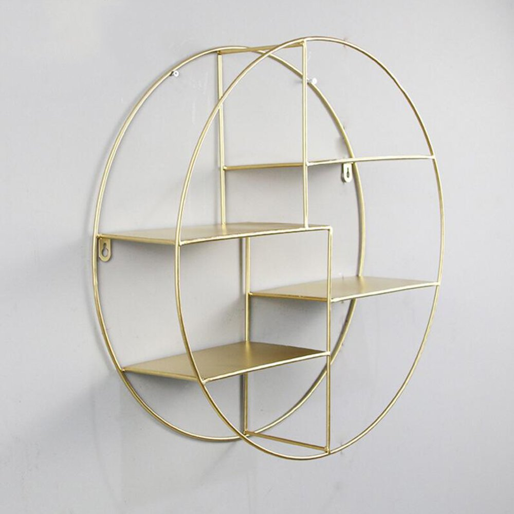 Shelves ZR- Round Wall Decoration Wall Hanging Storage Rack Iron 4 Living Room Bedroom Decorations Simple/505014cm (Color : Gold)