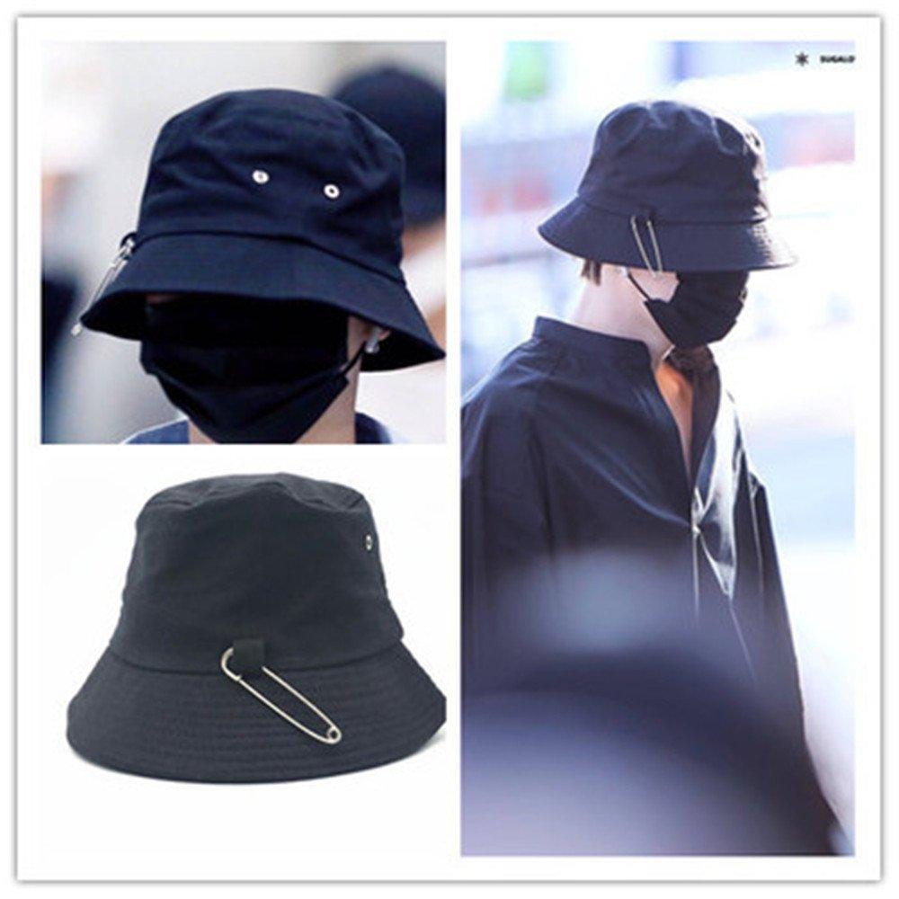 Misisi BTS SUGA Fashion Kpop Iron Ring Bucket Hats Popular Style Cap Long Belt Hip Hop Hat (Black 2)