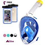 Full Face Snorkel Mask w/ 180° Panoramic View | Anti-Fog Lens, Anti-Leak Seal | Built-In Snorkeling, GoPro Mount | Free Breathing Support | Youth and Adults