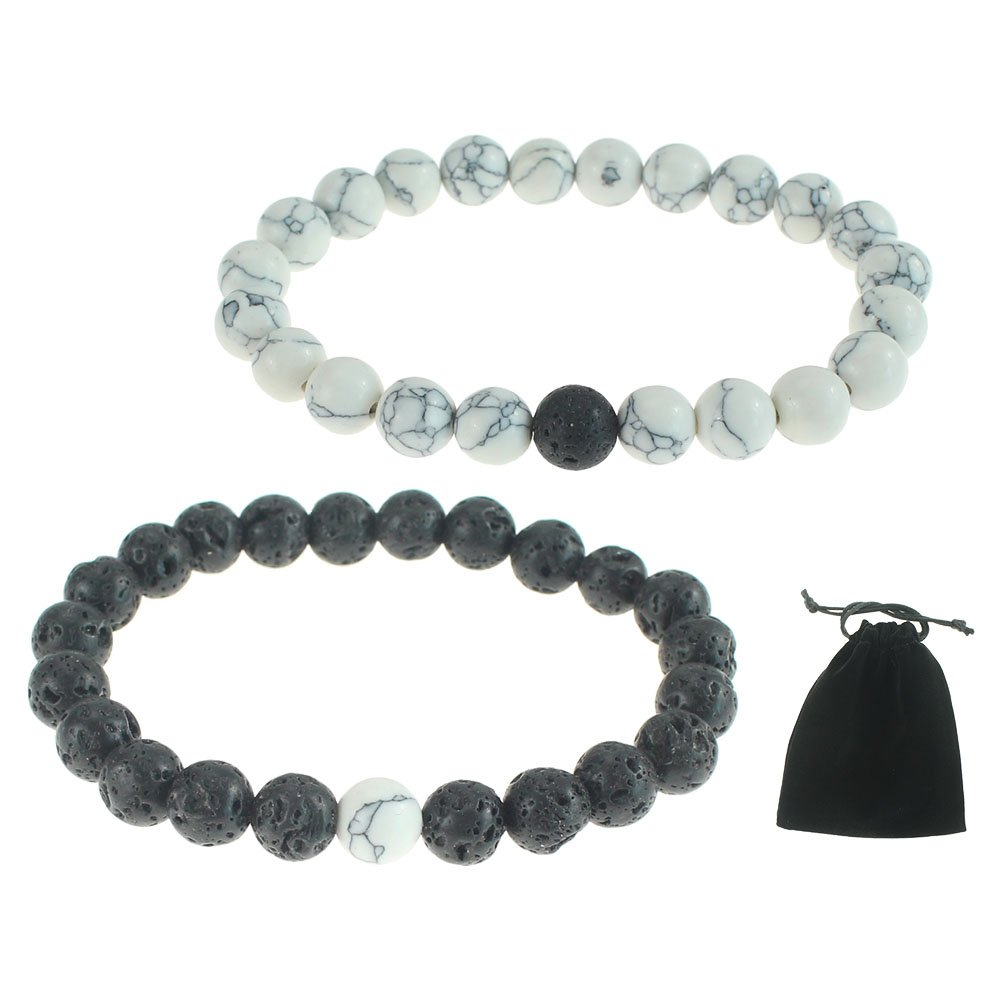 Bundle Lover-2pcs Black Lava Rock & White Howlite Stone 8mm Beads Bracelet Gemstones Crystal Stretch Beaded Stone Bracelet F Unisex with a Black Bag for Gift by CREATRILL Chengyuan