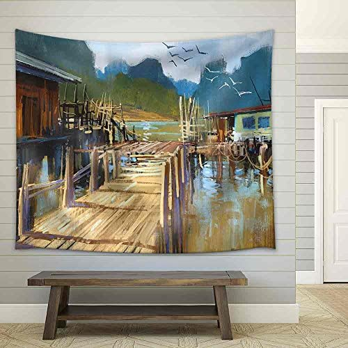 Landscape Painting of Fishing Village in Summer Fabric Wall