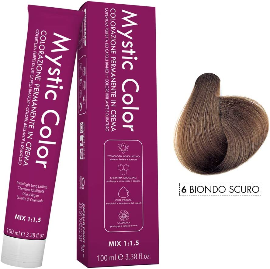Mystic Color - Coloración Permanente en Crema con Aceite de Argán y Caléndula - Color Natural y Duradero - Tono 6 Rubio Oscuro - 100 ml
