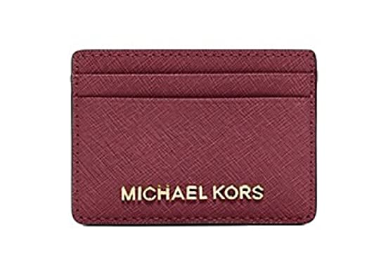 2e88904eaac2 Image Unavailable. Image not available for. Color  Michael Kors Jet Set  Travel Saffiano Leather Card Holder Mulberry