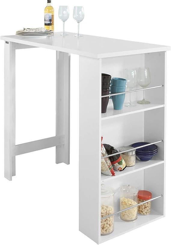 SoBuy FWT17 W Bartisch Beistelltisch Stehtisch Küchentheke Küchenbartisch mit 3 Regalfächern Tresen weiß BHT: 112x106,5x57cm