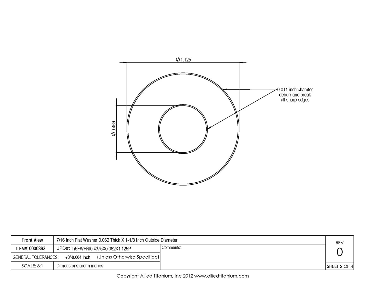 Grade 5 Pack of 10 7//16 Inch Flat Washer 0.062 Thick X 1-1//8 Inch Outside Diameter Ti-6Al-4V Allied Titanium 0000893,
