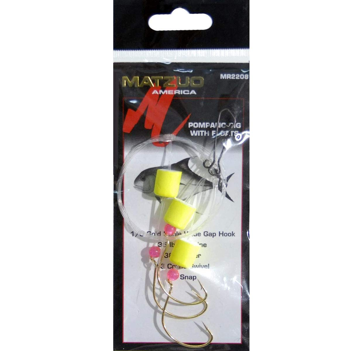 Matzuo Pompano Wide Gap Rig with Kahle Floats and Fluorescent Beads Gold