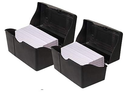 1InTheOffice Index Card Box 3x5 Index Card Holder 400 Capacity 2 Pack