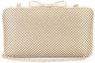Bow Clutches Women Evening Bag for Wedding Prom Cocktail Party Rhinestone Crystal Clutch Purse