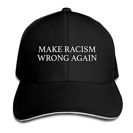 0002196d Unisex Make Racism Wrong Again Trucker Baseball Cap Adjustable Peaked Sandwich  Hat Black
