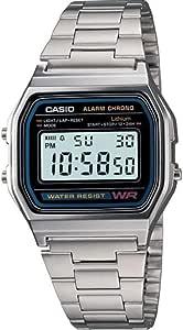 ساعة بمينا رمادي وسوار ستانلس ستيل وعرض رقمي للرجال من كاسيو - A158WA-1DF