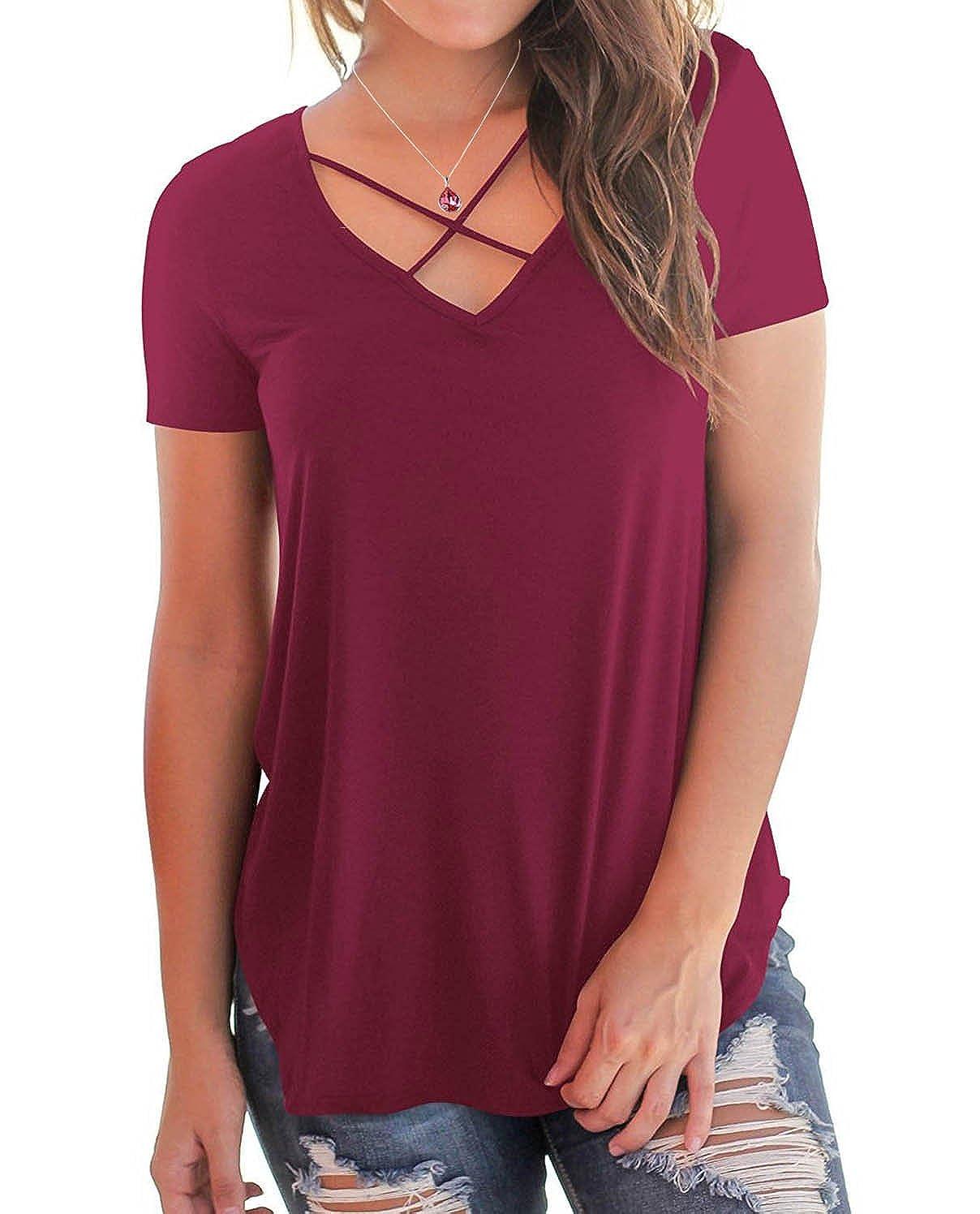 cc17b2796f2 BOBOSMXL Women s Casual Short Sleeve Solid Criss Cross Front V-Neck T-Shirt  Blouse Tops at Amazon Women s Clothing store