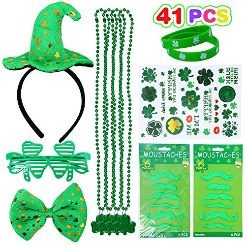 Lumiparty 41 Pcs St. Patricks Day Accessories Set Party Supplies with Shamrock Glasses,Necklaces, Mustaches,Rubber Bracelets, Tattoos,Hat Headband for St Paddys Day Decorations.